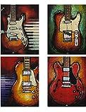 VIIVEI 4 Piece Arte de la Pared de música Impresiones de la Lona de Guitarra Abstracta Guitar Decoracion de Pared Modernas