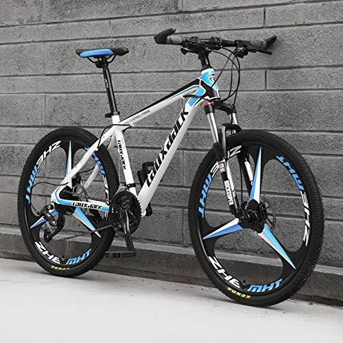 AP.DISHU Mountainbikes Hydraulische Doppelscheibenbremse Mountainbike Männliche und weibliche Studenten Rennrad 24-Zoll-Rad MTB,White & Blue,30 Speed