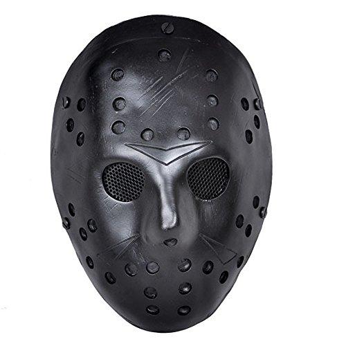 Black Friday exklusiv | CCOWAY Kostüm Prop, Jason Voorhees Maske für Freddy Hockey Festival, Halloween, Party, Cosplay und mehr (Schwarz) (Maske Hockey Schwarz)