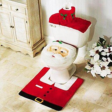 JHS Accessorio bagno 3 pezzi Natale, 1pc wc sedile 1pc carta igienica titolare 1pc tappetino da