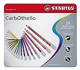 Crayon de couleur - STABILO CarbOthello - Boîte métal de 24 crayons fusains pastels - Coloris assortis