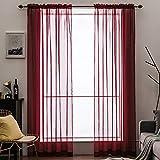 MIULEE Tende 2 Pannelli Trasparenti in Voile con Passanti Morbidi Finestre per Camera da Letto e Soggiorno 140x260cm Rosso