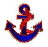 Flicken Patch Applikation Maritim zum Aufbügeln Seefahrt Kapitän (Anker 2 Rot)