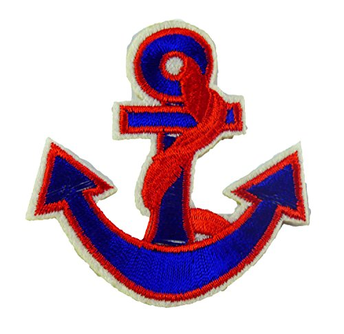 Flicken Patch Applikation Maritim zum Aufbügeln Seefahrt Kapitän (Anker 2 Rot) (Kreuzfahrt-patch)