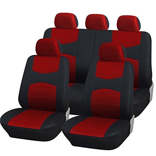 Lupex shop coprisedili auto universali con copri volante e copri cintura in tinta con i sedili - a19 - per auto con sedili standard medio piccoli - a19 (rosso/nero)