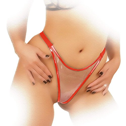 Ledapol - Scharfer transparenter Fetisch Lack Rio String rot-transparent - Gr. L