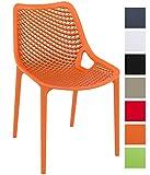 CLP XXL-Bistrostuhl AIR aus Kunststoff I Gartenstuhl mit einer Sitzhöhe von 44 cm I Outdoor-Stuhl mit Wabenmuster I In verschiedenen Farben erhältlich Orange