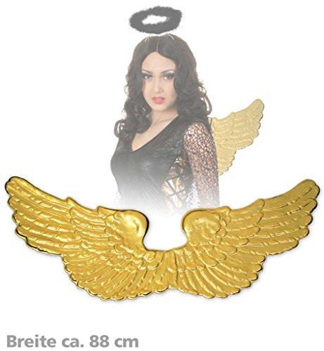Engelsflügel, ca. 88 cm Breite, gold, Engel, beweglich, breit, (Engel Flügel Gold Kostüm)