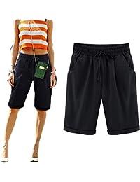 Juqilu Femme Short Loose Bermuda Casual Eté Confortable Cordon de serrage Elastique Taille Haute Short Yoga Mode Plage Grande taille M-6XL