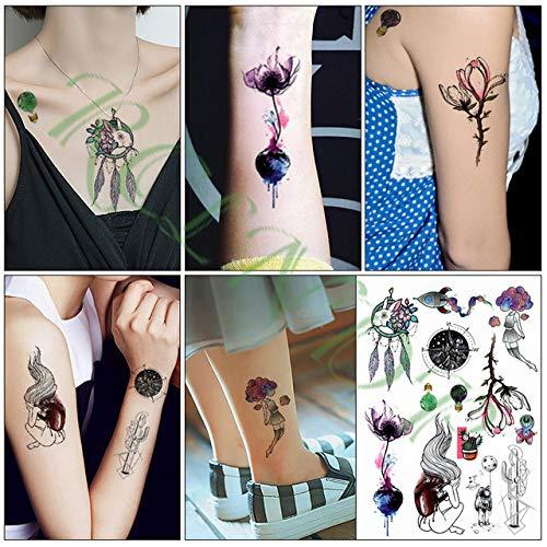 Tzxdbh 5pcs-waterproof tattoo sticker big red rose leaf tattoo big size tattoo girl female male tattoo 5pcs-