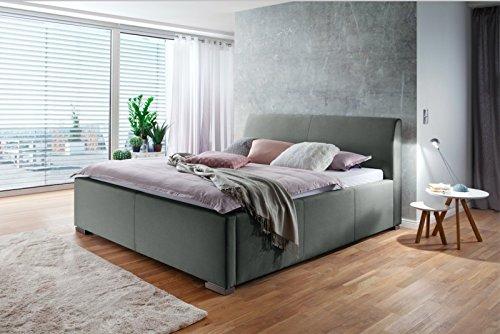 meise.möbel Polsterbett mit Bettkasten Lattenrost Metallfüße Stoffbezug l 180x200 l Hellgrau