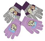 2Stück Handschuhe Kinder Mädchen die Eiskönigin 3Farben Einheitsgröße (3–8Jahre) grau Grau / Violett einheitsgröße