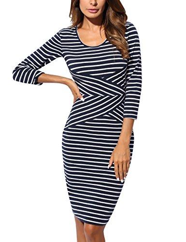 DJT FASHION Rundhals Kleider, DJT Damen Elegant Jerseykleid Figurbetontes Streifenkleid Etuikleid Knielang Weiss-2 - Gestreiften Weiß Stoff Und Blau