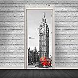 XXXCH 3D Türaufkleber 95X215CM London Big Ben Red Bus