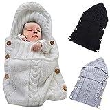 Neugeborenes Babydecke Wrap Swaddle Decke, SOONHUA Baby Kinder Kleinkind Wolle Knit Decke Swaddle Schlafsack Schlaf Sack Stroller Wrap für 0-12 Monate Baby (White)