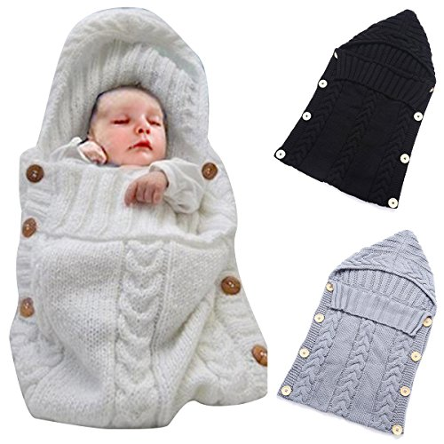 Colorful Newborn Baby Wrap Swaddle Blanket, Oenbopo Baby Kids Toddler Wool Knit Blanket Swaddle Sleeping Bag Sleep Sack Stroller Wrap for 0-12 Month Baby (White)