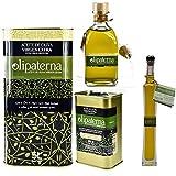 Kaltgepresstes Extra Natives (Virgin) Olivenöl aus Andalusien Olipaterna Säure 0,3 1A | 100% natürliches & reines Olivenöl für Feinschmecker | 5 L Kanister + 250 ml Kanister + 250 ml Glas +100 ml Glas
