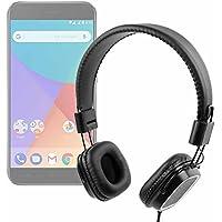 DURAGADGET Auriculares de Diadema Negros para Smartphone Xiaomi Mi A1 con Mando de Volumen y Doble