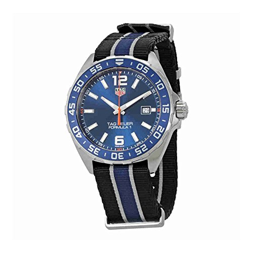 TAG HEUER MEN'S 43MM BLUE NYLON BAND STEEL CASE QUARTZ WATCH WAZ1010.FC8197