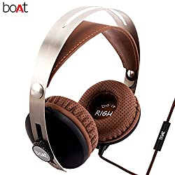 boAT BassHeads 800 Super Extra Bass Wired Headphones with Mic (Brown)