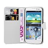 Cadorabo Hülle für Samsung Galaxy S3 Mini - Hülle in ARKTIS WEIß – Handyhülle mit Kartenfach und Standfunktion - Case Cover Schutzhülle Etui Tasche Book Klapp Style