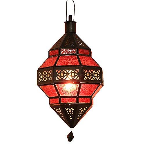 albena Marokko Galerie 13-157 Trob orientalische Lampe Glas/Metall (rot)