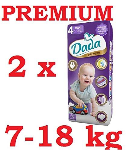Preisvergleich Produktbild Windeln DADA Premium 4 MAXI (7-18kg) 2 Pack (2 x 50 Stück)