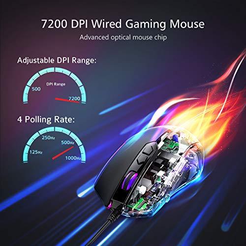 PICTEK -  Ratón Gaming Programable con Retroiluminado Personalizable Compatible con Windows7/8/10/Xp/Vista,  Negro