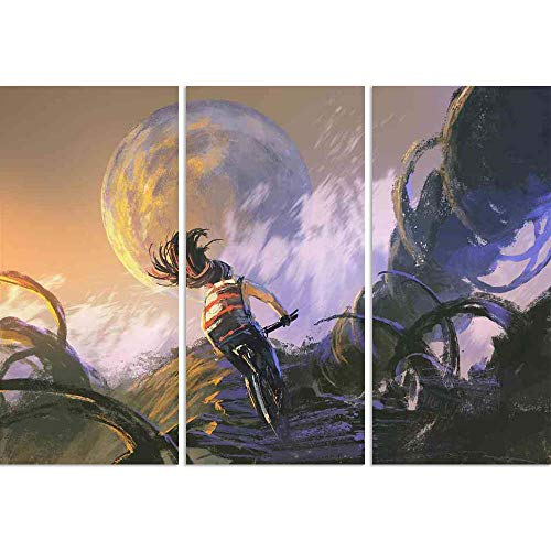ArtzFolio Cyclist Riding A Bike Climbing On Rocky Mountain Split Art Painting Panel On Sunboard 25.4 X 18Inch