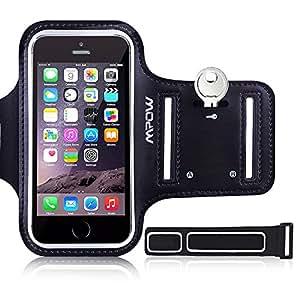 iPhone se 5S 55C da braccio, Mpow sweat-free da corsa + portachiavi per iPhone 5/5S/5C/se, iPod Touch 5, con misura regolabile, design Safey, adatto per palestra, corsa, ciclismo, escursionismo, equitazione, jogging, Downhill & Nordic sci, ecc.–-nero