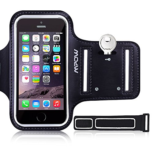 iPhone SE 5S 5 5C Sports Armband, Mpow Sweat-Free Running Armband + Key Holder for iPhone 5/5S/5C/SE, iPod Touch 5, with Adjustable Size, Safey Design, Suitable for Gym, Running, Biking, Hiking, Horseback Riding, Jogging, Downhill & Nordic Skiing, etc -- Black