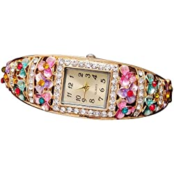 Crystal Flower Watch - TOOGOO(R)Fashion Crystal Flower Watches For Women Dress Watch Quartz Gold Plated Wristwatches Colorful