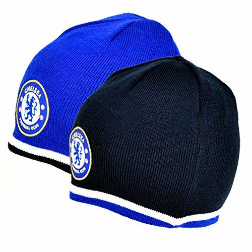 Chelsea FC Wende Strick-Mütze mit Club-Wappen (Einheitsgröße) (Blau/Schwarz)