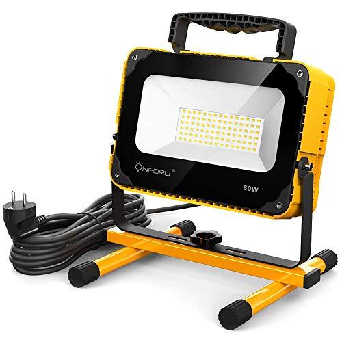 Onforu 80W Projecteur de Chantier LED, 8000LM Lampe Travaux Puissante, 2 Luminosités, 5000K Blanc Froid, 5M Fil avec Prise, Lampe Éclairage Travaux pour Atelier Bricolage Construction Réparation