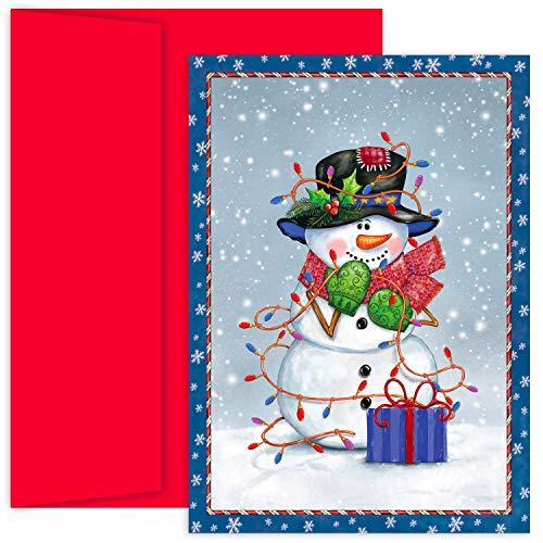 Masterpiece Hollyville Weihnachtskarten in Andenkenbox, 18 Stück Schneemann in Lichter gehüllt 5.625 x 7.875