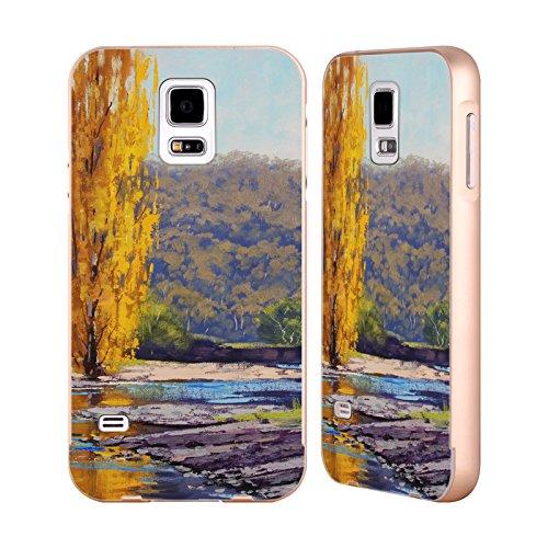 Head Case Designs Offizielle Graham Gercken Timut Fluss Pappel Herbst Gold Rahmen Hülle mit Bumper aus Aluminium für Samsung Galaxy S5 / S5 Neo