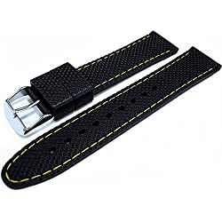 Black Silicone Rubber Divers Sports Watch Strap Band Yellow Stitching 22mm