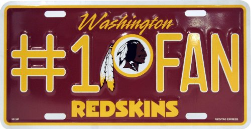 Rico Industries Washington Redskins License Plate Number One Fan