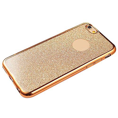 Cuitan TPU Glitter Housse Case pour Apple iPhone 6 / 6s (4,7 Inch), Galvanoplastie Bling Shiny Retour Housse Back Cover Protecteur Etui Coque Cover Shell pour iPhone 6 / 6s (4,7 Inch) - Argent Or