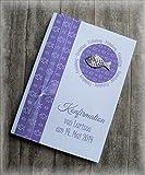 Einladung Einladungskarte Kommunion Konfirmation Taufe Fisch silber lila violett