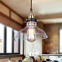 Glighone Lámpara Colgante Cristal Lámpara Vintage Luz Industrial Luz de Techo de Pantalla Rústico Casquillo E27 No Incluye Bombillas para Decoración Interior, La Carcasa de Fuera o Tulipa Transparente