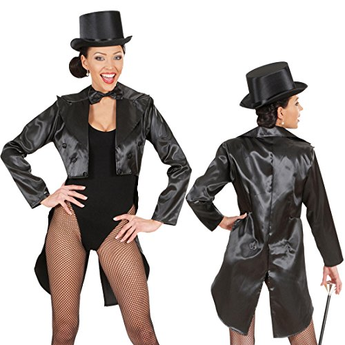 Frack Damen Damenfrack Satin schwarz M 38/40 Showgirl Outfit Frauenfrack Kabarett Marlene Kostüm Can Can Revue Damenkostüm