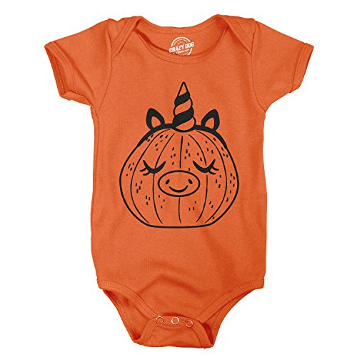 Crazy Dog Tshirts - Creeper Pumpkin Unicorn Pig Baby Bodysuit Funny Halloween Jack-O-Lantern Jumper (Orange) - Newborn - Baby-Jungen - Newborn (Skeleton Jack T-shirt)