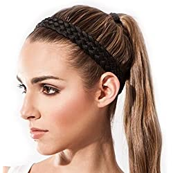 Sternitz Cintas de Pelo Trenzadas - Antiresbalante Yoga - Pilates - Running. Headbands (Negro)