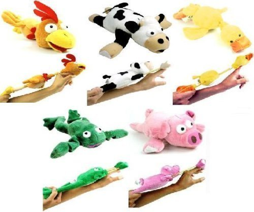 5pc Set of Slingshot Flingshot Flying Barnyard Animals with Sound Pig Chicken Cow Duck Frog by Playmaker Toys -