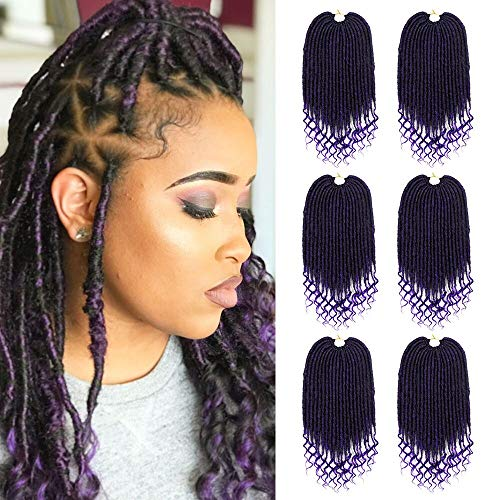 6Packs Faux Locs With Curly Ends Goddess Locs Crochet Hair Soft Dreadlocks For Braids Faux Locs Crochet Braiding Hair Extensions (20 Zoll) (Curly Hair Extensions Lila)