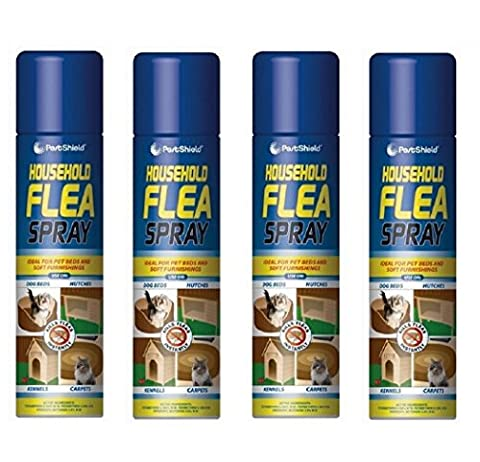 Flea Killer Spray 4 x 200ml Aerosol Animal Flea Dog Cat Tick Protection House