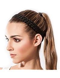 Sternitz Cintas de Pelo Trenzadas - Antiresbalante - Perfectas para Yoga - Pilates - Running. Headbands (Negro)