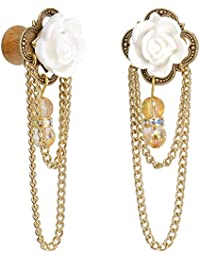 Body Candy Handcrafted Golden Roses Dangle Plug Set of 2 Created with Swarovski Crystals 0 Gauge