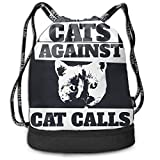 Aeykis Unisex Cats-Against-Cat-Calls Multifunctional Drawstring School Shoulders Bag Casual Outdoor Daypack